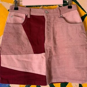Pink and Maroon Color Block Skirt NEW WITH TAGS